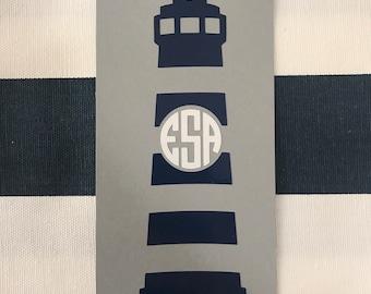 Lighthouse Monogram Decal - Laptop Sticker, Car Window Decal, Water Bottle Decal
