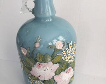 Vintage hand painted glass jug