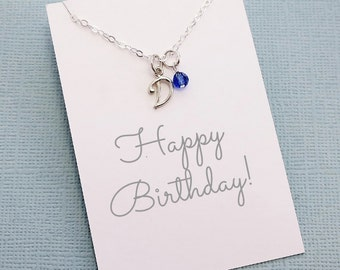 Initial Necklace   Personalized Initial Birthstone Necklace, Birthstone, Personalized Jewelry, Monogram,  Cursive Letter   Silver   X10