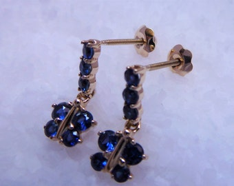 14 K Yellow Gold Butterfly Earrings With Genuine Sapphire And Screw Backing
