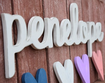 Penelope Baby Name Wooden Sign - Nursery Decor - Cursive Baby Name Signs for Nursery and Home Decor