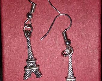 Antique Silver Eiffel Tower Dangling Earrings