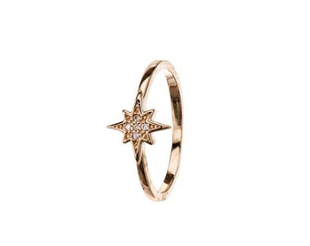 Tiny Star Ring, Gold Ring, North Star Ring, Star Ring, Star Jewelry, Zirconia Ring, Sterling Silver Zirconia Ring, Stacking Ring.