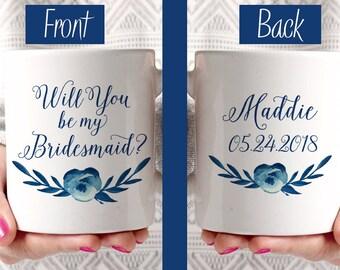 Will You be my Bridesmaid - Bridesmaid Proposal Bridesmaid Mug Watercolor Floral Mug - Bridesmaid Gift - Cotton Blossom Watercolor Mug Blue