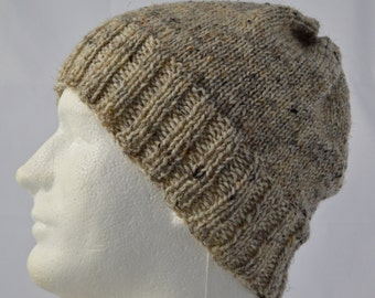 Winter Mens Watch Cap for Minimalist, Hand Knit, Warm, Wool, Tan Hat