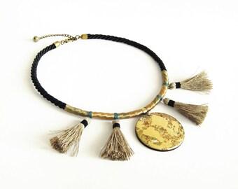 Tassel Necklace Gold, Bib Necklace, Rope Necklace, Boho Statement Necklace, Boho Tassel Necklace, Wood Pendant