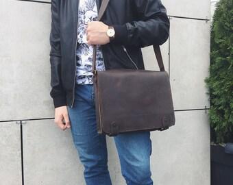 Personalized Shoulder Bag, Crossbody Bag, Leather Messenger Bag, Personalized Leather Bag, Laptop Bag, Brown Leather Bag, Leather Crossbody