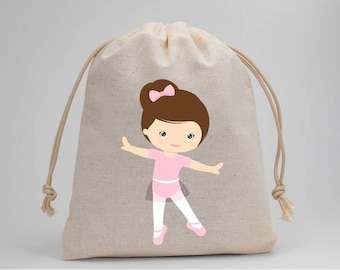 Ballet, Ballerina, Birthday Party, Party Bags, Muslin Bags, Candy Bags, Treat Bags, Favor Bags, Goodie Bags, Drawstring Bags, Girl, Set of 5