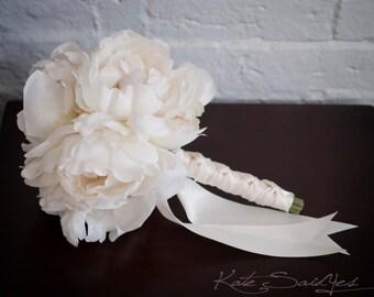 Petite Ivory Peony Wedding Bouquet