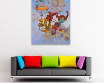 Colorful Wall Art, Surreal Painting, Surrealism, Psychedelic Art, Weird Art, Strange Creatures, Bright Wall Art, Dark Art, Oddities Decor