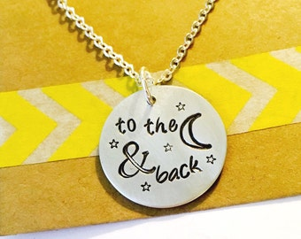 To the Moon and Back, Love You to the Moon and Back Hand Stamped Necklace