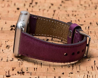 Purple Apple Watch Band, Apple Watch Leather Band, Apple Watch Serie 3, Apple Watch Band, 42mm, 38mm, Apple Watch Strap, iWatch Band-PURPLE