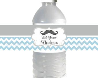 INSTANT DOWNLOAD Mustache Water Bottle Labels Little Man DIY Bottle Wrappers Mustache Bash Party Decorations Powder Blue Grey Chevron - 022