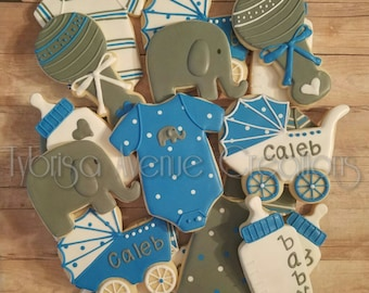 12 Baby Elephant Sugar Cookies - Baby Boy Sugar Cookies - Baby Boy Baby Shower Favors - Elephant Baby Shower Cookies - Elephant Cookies