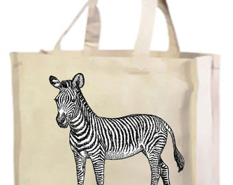 Zebra Cotton Shopping Bag with gusset and long handles, 3 colour options