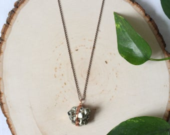 Geometric Pyrite Necklace | Long Wire Wrapped Pendant