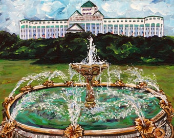 Fountain at the Grand Hotel, Mackinac Island, Victorian, Summer Vacation, American Flags
