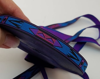 Apache Native Fabric Woven Trim Blue 1/2 inches Wide sold by the yard