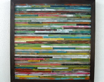 Reclaimed Wood Art - Wall Sculpture - Abstract Painting on Wood
