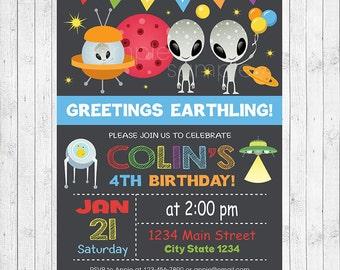 Out of this world Birthday Invitation, UFO Invitation, UFO Invite, Space Invitation, Space invite, Aliens Invitation, printable