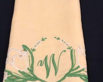 Vintage yellow linen monogrammed napkin