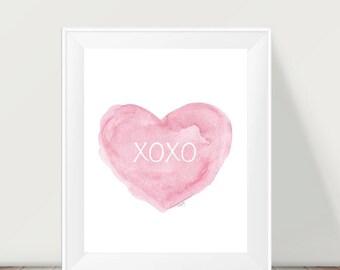 XOXO, 11x14 Pink Nursery Art, XOXO Print, I Love You, Hugs and Kisses, Pink Nursery Decor, Pink Girls Wall Decor, Baby Girl Room Decor