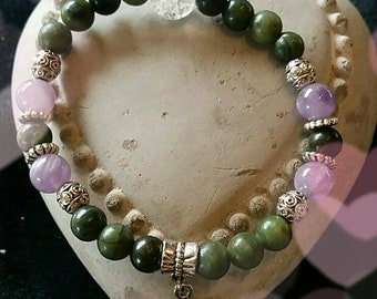 Serpentine, rock crystal and Amethyst bracelet