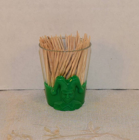 Green Joker Plastic Toothpick Holder Vintage Game Night Poker Theme Toothpick Holder Card Themed Tooth pick Holder Bachelor Party Decor