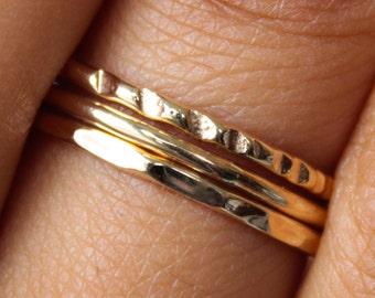 Thin Gold Ring Set 3 Band Hammered Gold Ring Set Thin Gold Rings Set Stacking Rings Dainty Gold Rings Stacking Ring Set Stackable Gold Ring