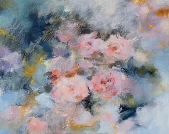 Roses Original mixed media floral painting Impressionistic artwork Flower pink blue grey art modern mauve softness classicicism decorative