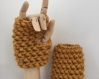 Chunky Fingerless Mitts Fall Winter Spring Tech Friendly