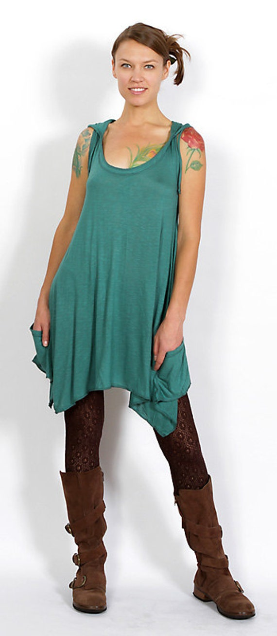 Pixie Sleeveless Hoodie Dress in Teal for Womens Festival Wear Yoga Clothing Wholesale