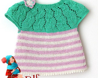 Knitting Pattern (PDF file) Lace/Strips Tunica (sizes 3mo/6mo/12mo/18mo/2T/3T)