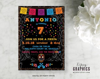 Fiesta Day of the Dead Coco Inspired Printable Birthday Party Invite by Tipsy Graphics. Cinco de Mayo. Mexican Fiesta.