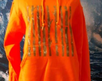 Forest barcode bright orange hoodie