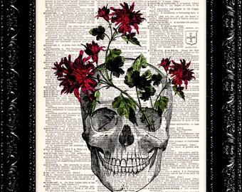 BOGO - Red Flower Skull - Vintage Dictionary Art Print Vintage Book Print Page Art Upcycled Vintage Book Art