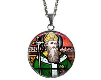 Saint Patrick Necklace - Large Catholic Pendant Stainless Steel