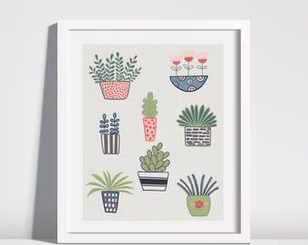 8x10  Flower Pot Plant Illustration Downloadable Printable Art Instant Art Drawing  Kids Room Nursery Art Print Mid Century Inspired Art