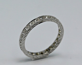 1.5 TCW Simulated Diamond Engraved Antique Style Sterling Silver Eternity Band- Engagement, Wedding, Promise, Proposal, Unique, Silver Band
