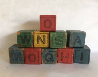10 Victorian Wood Alphabet Blocks
