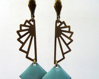 Graphic Blue and bronze EARRINGS