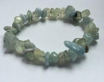 Prehnite and Aquamarine bracelet