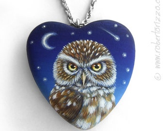 Little Owl Heart Pendant | Hand Painted Jewels
