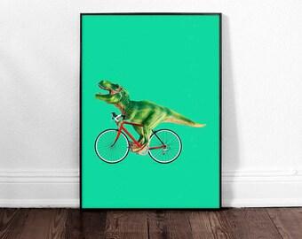 T-Rex Bike Art Print, Dino Poster, Dinosaur Art Print, Wall Art Decor, Large Colorful Poster, Nursery Print,Humorous Poster Print, Boys Room