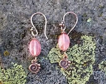Cherry Quartz Copper Heart Earrings, Heart Jewelry, Copper Dangle Earrings
