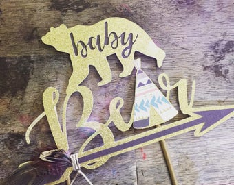 Baby Bear Baby Shower Cake Topper. Bear Cake Topper. Baby Bear Theme Shower. Wild One baby Shower