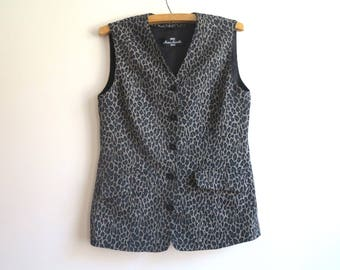 Brown Black Leopard Print Women's Vest Fitted Steampunk Formal Waistcoat Animal Print Gilet Large Size