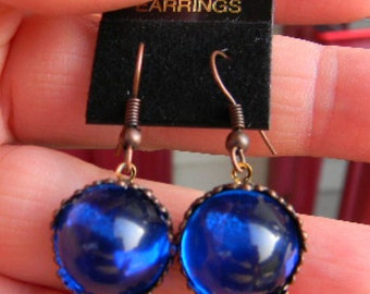 Royal Queen's Jewels Ruby Red or Sapphire BlueRound Gem Earrings