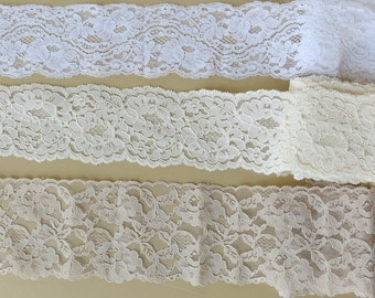 Wide Bridal Galloon Lace Sampler White Ivory Champagne 10+ Yards 900a