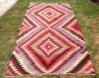 "Turkish Kilim rug, area rug, 116""x62.5"", rug, kilim rug, Vintage Turkish kilim, kelim rug, vintage rug, bohemian, Turkish rug, rugs,"